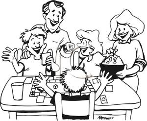 A_Family_Playing_a_Board_Game_and_Eating_Popcorn_Royalty_Free_Clipart_Picture_100221-120804-577053
